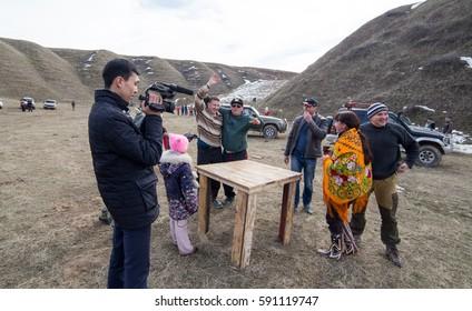Shymkent, KAZAKHSTAN - February 26, 2017: People on Russian holiday Maslenitsa