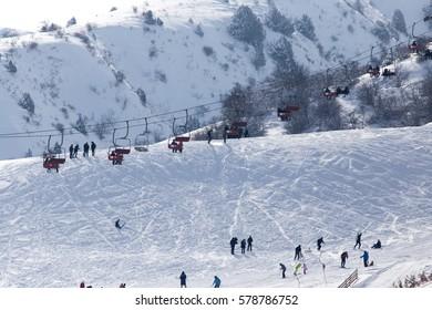 Shymkent, KAZAKHSTAN - February 5, 2017: People in the ski resort Tausamaly