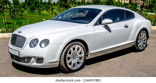 "Shymkent, Kazakhstan - July 7, 2018; Car ""Bentley"" white color prepared for sale."