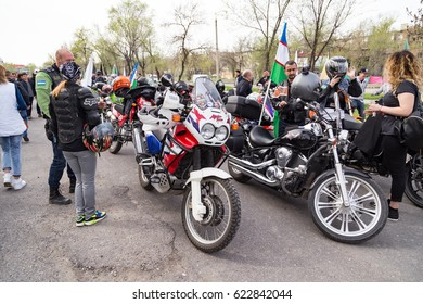 Shymkent, KAZAKHSTAN - March 15, 2017: Motorcycles at the opening of the biker season in Shymkent