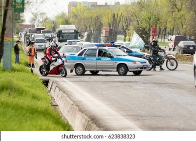 Shymkent, KAZAKHSTAN - March 15, 2017: Motorcycles at the opening of the biker season in Shymkent March 15, 2017