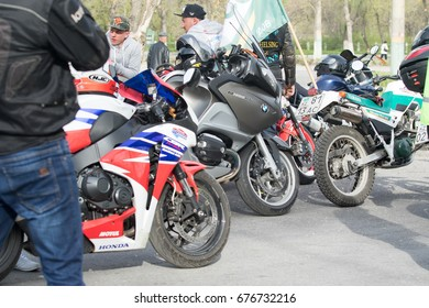 Shymkent, KAZAKHSTAN - March 15, 2017: Motorcycles at the opening of the biker season in Shymkent on March 15, 2017. People & Motorcycles