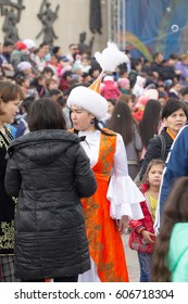 "Shymkent, KAZAKHSTAN, March 22,2017: Rally of the population at the city hippodrome in honor of the holiday of the spring equinox ""Nauryz"".Women in Kazakh national costumes at the festival of Nauryz"