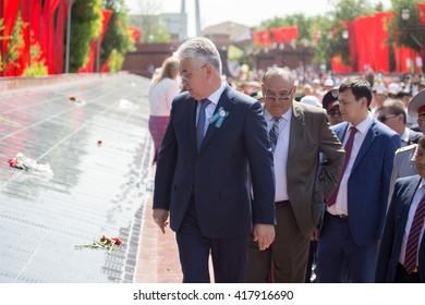Shymkent, KAZAKHSTAN May 8, 2016: Mayor Yu-KO Atamkulov Beibut Bakirovich. Victory Day celebration in the city of Shymkent, Kazakhstan, May 8, 2016