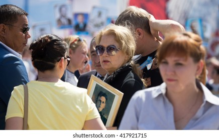 Shymkent, KAZAKHSTAN May 8, 2016: Irina Alferov People's Artist of Russia in the Immortal regiment. Victory Day celebration in the city of Shymkent, Kazakhstan, May 8, 2016