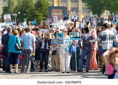Shymkent, KAZAKHSTAN May 9, 2017: Immortal regiment. Folk festivals of people. The feast of the victory of the Red Army and Soviet people in the Great Patriotic War of 1941-1945.