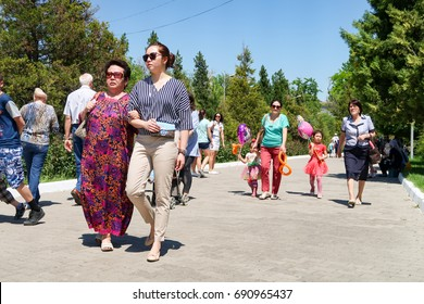 Shymkent, Kazakhstan, - May 9, 2017: Mass folk festivities in the park. Victory of the Red Army and the Soviet people in the Great Patriotic War of 1941-1945.