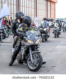 Shymkent, Kazakhstan, October 21, 2017; Closing Motosone. An entertaining program. Moto Bikers