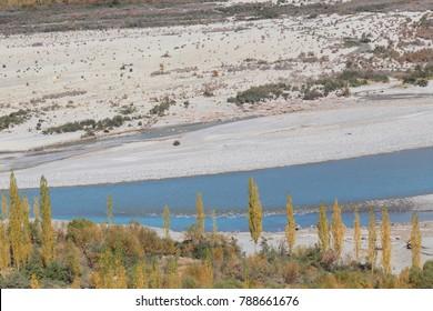Shyok River between away go to disket, Ldakh north India