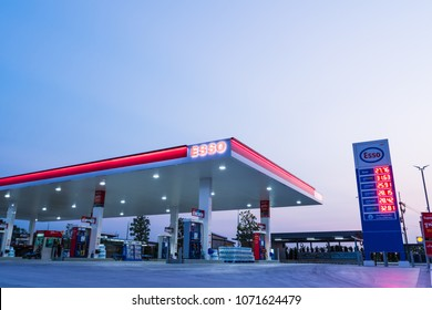 Si Racha, Chonburi /Thailand - April 18, 2018: ESSO gas station with blue sky background during. Esso gas stations and products including gasoline, diesel, motor oil, gift cards, credit cards and more