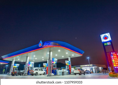 Si Racha, Chonburi /Thailand - April 18, 2018: PTT gas station. PTT Public Company Limited or simply PTT is a Thai state-owned SET-listed oil and gas company.