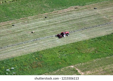 SIALJAVIC, CROATIA - OCTOBER 10: An aerial view of tractor working in a field in Sisljavic Croatia, on October 10, 2011.