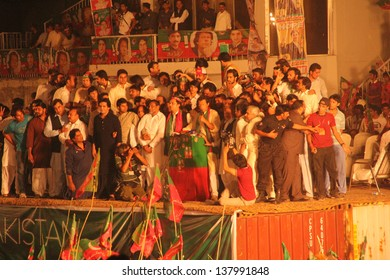 SIALKOT, PAKISTAN - MAY 06: Cricketer turned politician Imran Khan election campaign rally at Jinnah Cricket Stadium on May 06, 2013 in Sialkot, Pakistan
