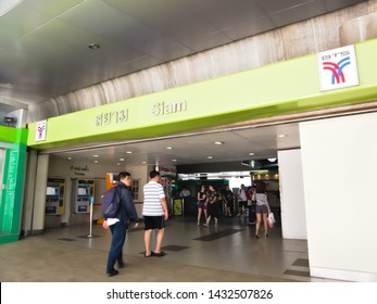 Siam BTS Station, Bangkok - 23 June 2019: BTS station in the heart of Bangkok's commercial and shopping district in Bangkok - 23 June 2019