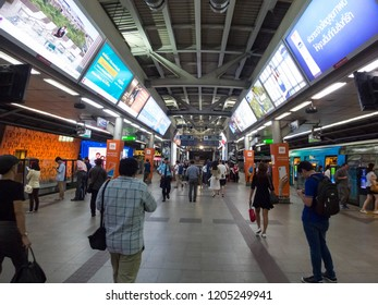 Siam BTS Station BANGKOK,THAILAND-16 OCTOBER 2018: BTS Skytrain station is waiting for the BTS. on,16 OCTOBER 2018, in Thailand.