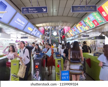 Siam BTS Station BANGKOK,THAILAND-17 AUGUST 2018: Metro passengers are passing through the BTS entrance. on,17 AUGUST 2018, in Thailand.