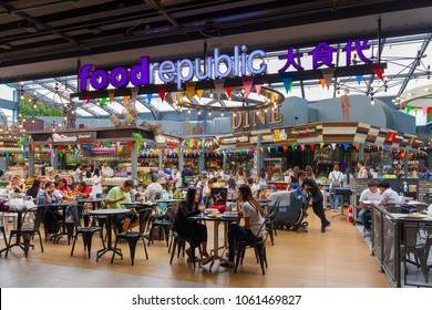 SIAM CENTER, BANGKOK - APR 4 : Food Republic food court at Siam Center Shopping Mall on April 4, 2018 in Bangkok, Thailand. Siam Center is one of the most popular shopping centers in Siam Area.
