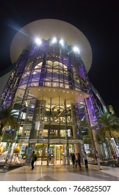 Siam Paragon at night , one of largest shopping center in Bangkok, Thailand in November 7  2017 .