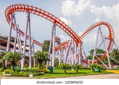 Siam Park City, Bangkok, Thailand - September 28, 2018 : Roller Coaster at Siam Park City or SuanSiam, Bangkok, Thailand.