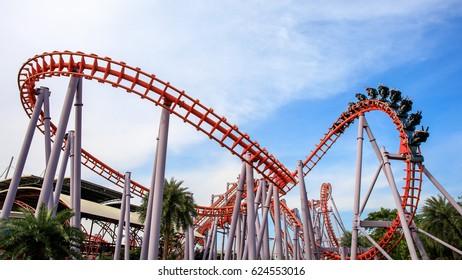 Siam Park City, Bangkok, Thailand - April 16, 2017 : Roller Coaster at Siam Park City or SuanSiam, Bangkok, Thailand.