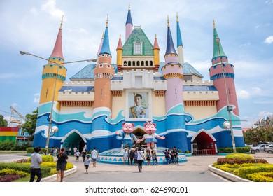 Siam Park City, Bangkok, Thailand - April 16, 2017 : Colorful cute castle infront of  Siam Park City or SuanSiam, Bangkok, Thailand
