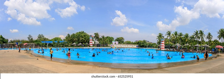 Siam Park City, Bangkok, Thailand - April 16, 2017 : Panoramic or panorama of Large or huge swimming pool of Siam Park City or SuanSiam, Bangkok, Thailand