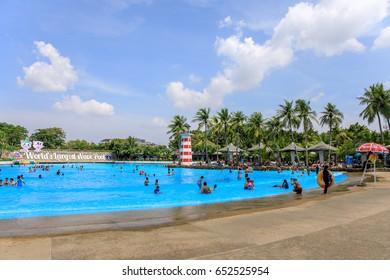 Siam Park City, Bangkok, Thailand - April 16, 2017 : Large or huge swimming pool of Siam Park City or SuanSiam, Bangkok, Thailand