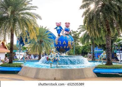 Siam Park City, Bangkok, Thailand - April 16, 2017 : Cute colorful mascot cartoon of Siam Park City or SuanSiam, Bangkok, Thailand