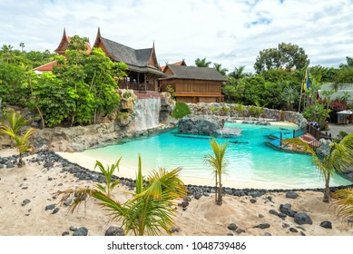 SIAM PARK, TENERIFE 22 FEBRUARY 2018: Tropical pool with sea lions in the entry to Siam Park, Tenerife, Spain. Siam Park is the biggest water park in Europe with 18.5 hectares area.