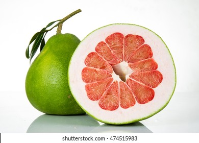 Siam ruby pomelo frut on white background and shallow depth of filed and macro