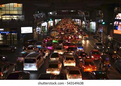 Siam square traffic jam at night ,Bangkok ,Thailand ,December 23 ,2016
