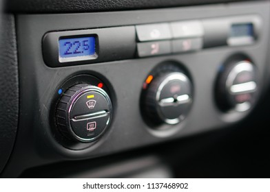 Sianozety, Poland - November 13, 2015: Air conditioning with buttons showing 22,5 degrees in a car