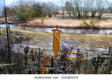 SIAULIAI, LITHUANIA - April 01, 2018: The Hill Of Crosses in northern Lithuania