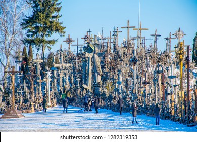 Siauliai / Lithuania - Dec 2015: The Hill of Crosses is the most iconic hill in Lithuania at sunrise at Christmas time. Kryžių kalnas is a site of pilgrimage about 12 km north of the city of Šiauliai.