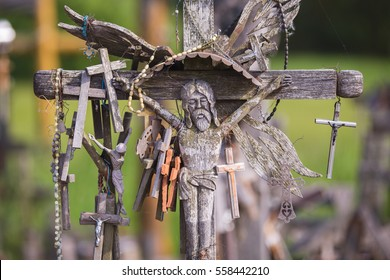 SIAULIAI, LITHUANIA - MAY 28, 2016: Hill of crosses with over four hundred thousand crosses and crucifix. Unique monument of history and religious folk art.