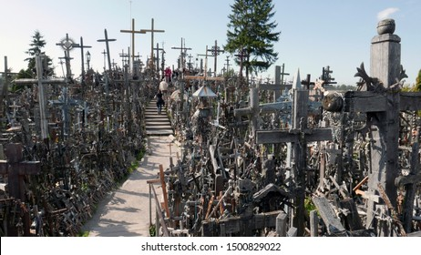 Siauliai, Lithuania - september 10 2019: The Hill of the Crosses is an (inter) national pilgrimage site near the city of Siauliai, Lithuania. The hill became a symbol of the power of the Lithuanian