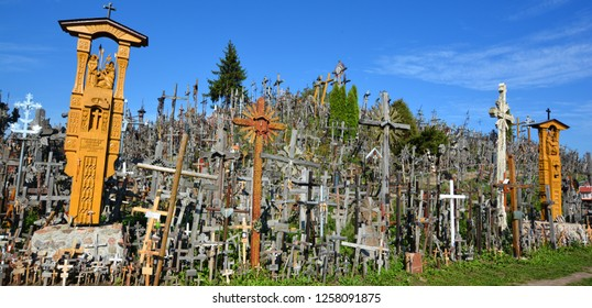 SIAULIAI, LITHUANIA SEPTEMBER 15 2015: View of hill of crosses with over four hundred thousand crosses and crucifix, which is thought tradition of putting a cross traces to 1800s
