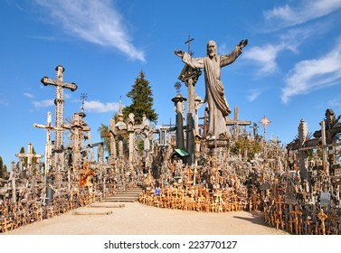 Siauliai - September 16: Hill of Crosses is a unique monument of history and religious folk art  on  September 16, 2014 in Siauliai, Lithuania.