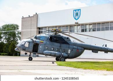 Siauliai/Lithuania July 12, 2015 Air Force Mil Mi-8 Hip military transport