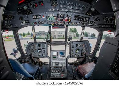 Siauliai/Lithuania July 12, 2015 Cockpit of Mil Mi-8 Hip