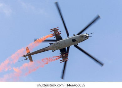 Siauliai/Lithuania July 27, 2019 Czech Republic Air Force Mil Mi-24 Hind attack helicopter