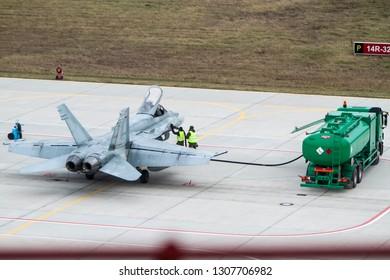Siauliai/Lithuania October 25, 2015 A Royal Canadian Air Force McDonnell Douglas CF-18 Hornet
