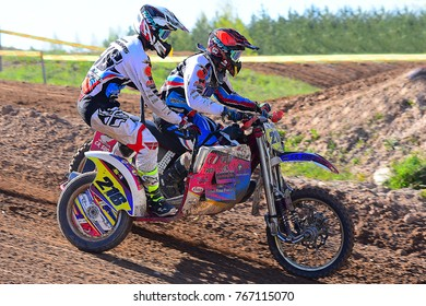 SIAULIAI,LITHUANIA-MAY 13,2017: riders in action in Lithuanian Open Motocross Championship 2017  first roundon.