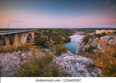 SIbenik bridge and Skradin village in Croatia at sunset