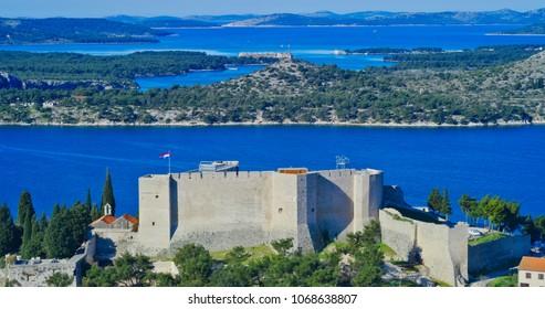 SIBENIK, CROATIA - April 15, 2018 Saint Michael fortress and Sibenik aquatorium view from the St. Ivan fortress in Sibenik Croatia.