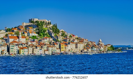 SIBENIK, CROATIA - April 22, 2017 Panoramic view of the old city center on a beautiful sunny day.