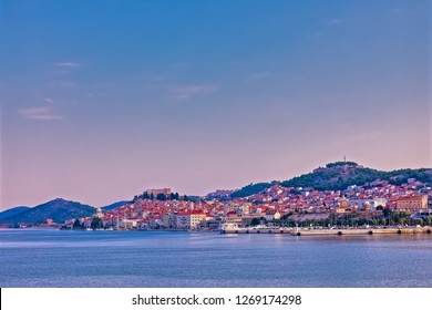 SIBENIK, CROATIA - August 19, 2018 Coastal panoramic view of the old city center at sunrise.
