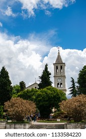 In Sibenik, Croatia on 05/17/2018. Church of Gospe van Grada located in the center of the city with a beautiful tower with the background of a spectacular sky.