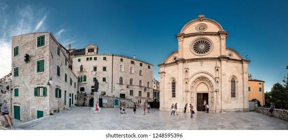 SIBENIK, CROATIA-JUNI 26, 2018: Cathedral of St. Jacob in Sibenik. Object entered on, list of unesco.