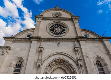 SIBENIK, CROATIA-May 26,2017:Particulars view of St James cathedral in Sibenik, UNESCO world heritage site in Croatia.Sibenik, The Cathedral, Croatia.